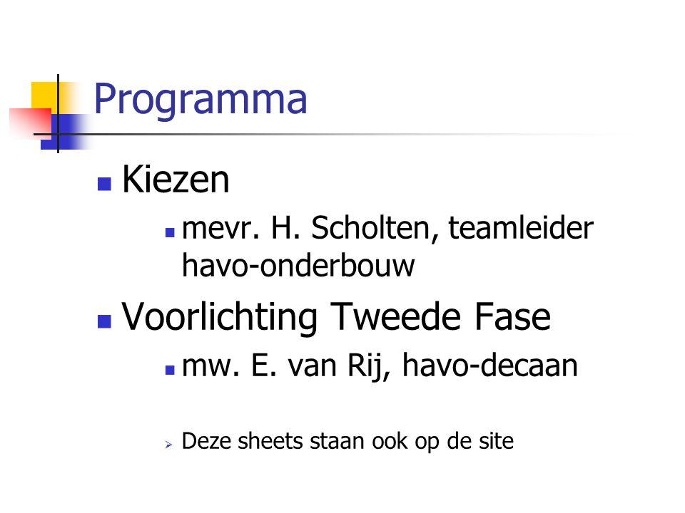 Programma Kiezen mevr.H. Scholten, teamleider havo-onderbouw Voorlichting Tweede Fase mw.