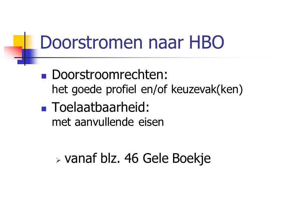Doorstromen naar HBO Doorstroomrechten: het goede profiel en/of keuzevak(ken) Toelaatbaarheid: met aanvullende eisen  vanaf blz.