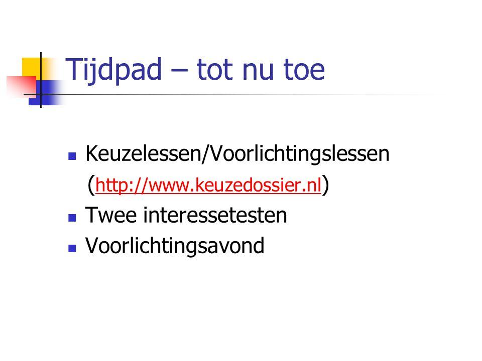 Tijdpad – tot nu toe Keuzelessen/Voorlichtingslessen ( http://www.keuzedossier.nl ) http://www.keuzedossier.nl Twee interessetesten Voorlichtingsavond
