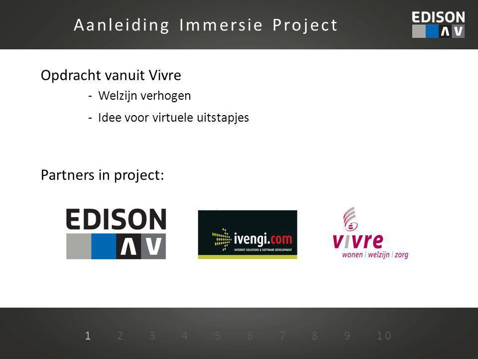 Opdracht vanuit Vivre - Welzijn verhogen - Idee voor virtuele uitstapjes Partners in project: Aanleiding Immersie Project 1 2 3 4 5 6 7 8 9 10
