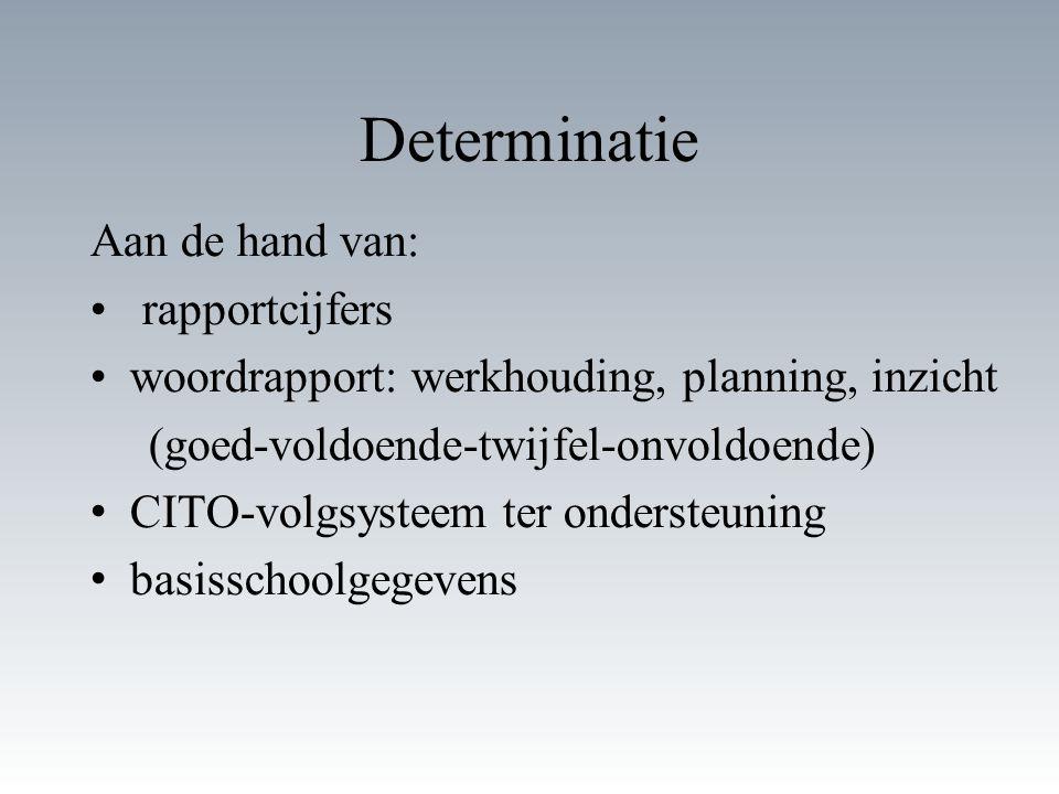 Determinatie Aan de hand van: rapportcijfers woordrapport: werkhouding, planning, inzicht (goed-voldoende-twijfel-onvoldoende) CITO-volgsysteem ter on