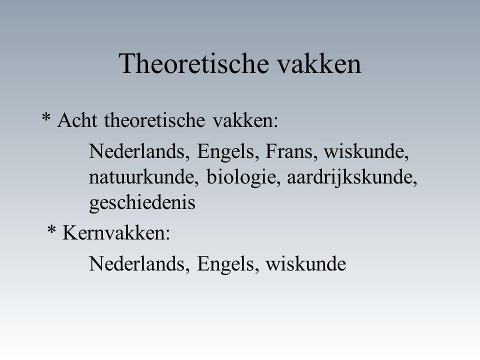 Theoretische vakken * Acht theoretische vakken: Nederlands, Engels, Frans, wiskunde, natuurkunde, biologie, aardrijkskunde, geschiedenis * Kernvakken: