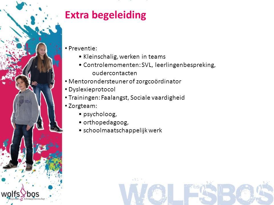 Extra begeleiding Preventie: Kleinschalig, werken in teams Controlemomenten: SVL, leerlingenbespreking, oudercontacten Mentorondersteuner of zorgcoörd