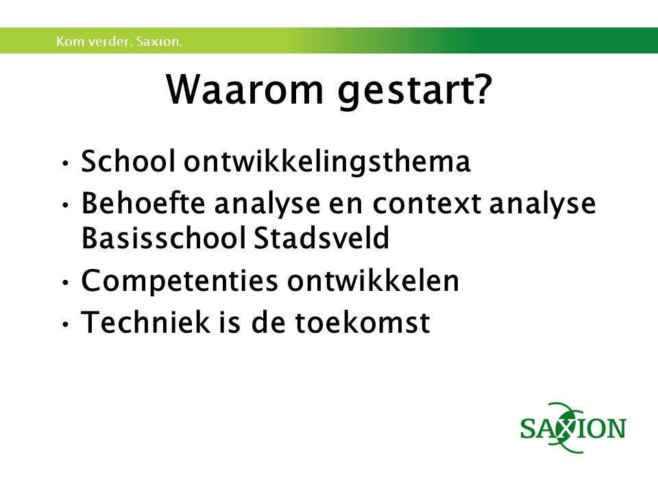 Kom verder. Saxion. Waarom gestart? School ontwikkelingsthema Behoefte analyse en context analyse Basisschool Stadsveld Competenties ontwikkelen Techn