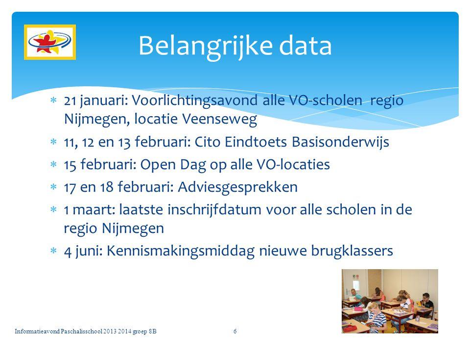  21 januari: Voorlichtingsavond alle VO-scholen regio Nijmegen, locatie Veenseweg  11, 12 en 13 februari: Cito Eindtoets Basisonderwijs  15 februar