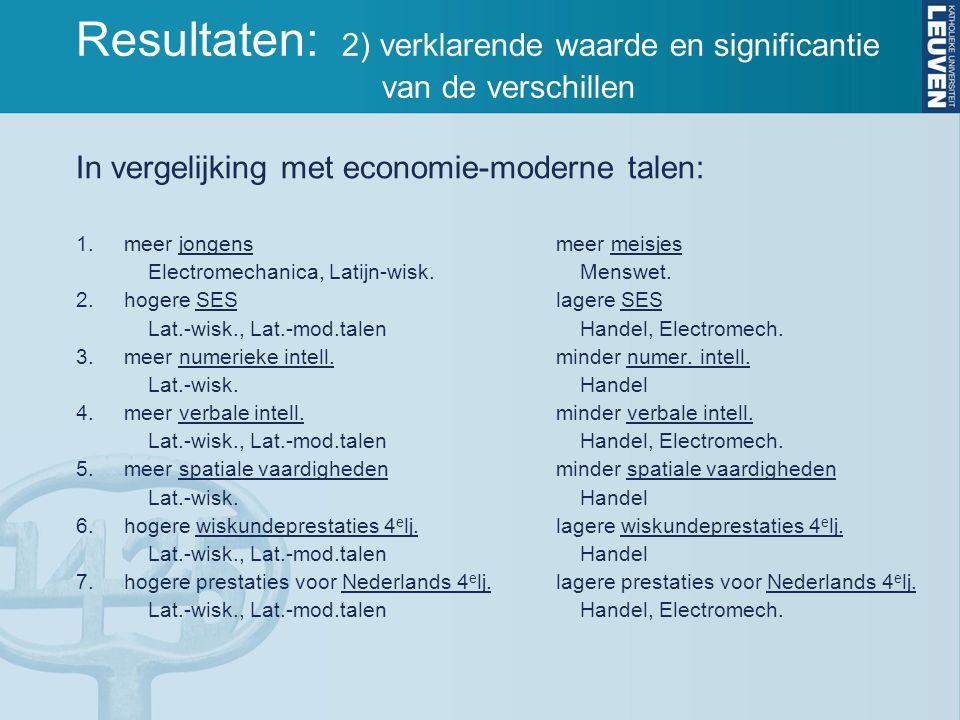 In vergelijking met economie-moderne talen: 1.meer jongensmeer meisjes Electromechanica, Latijn-wisk.