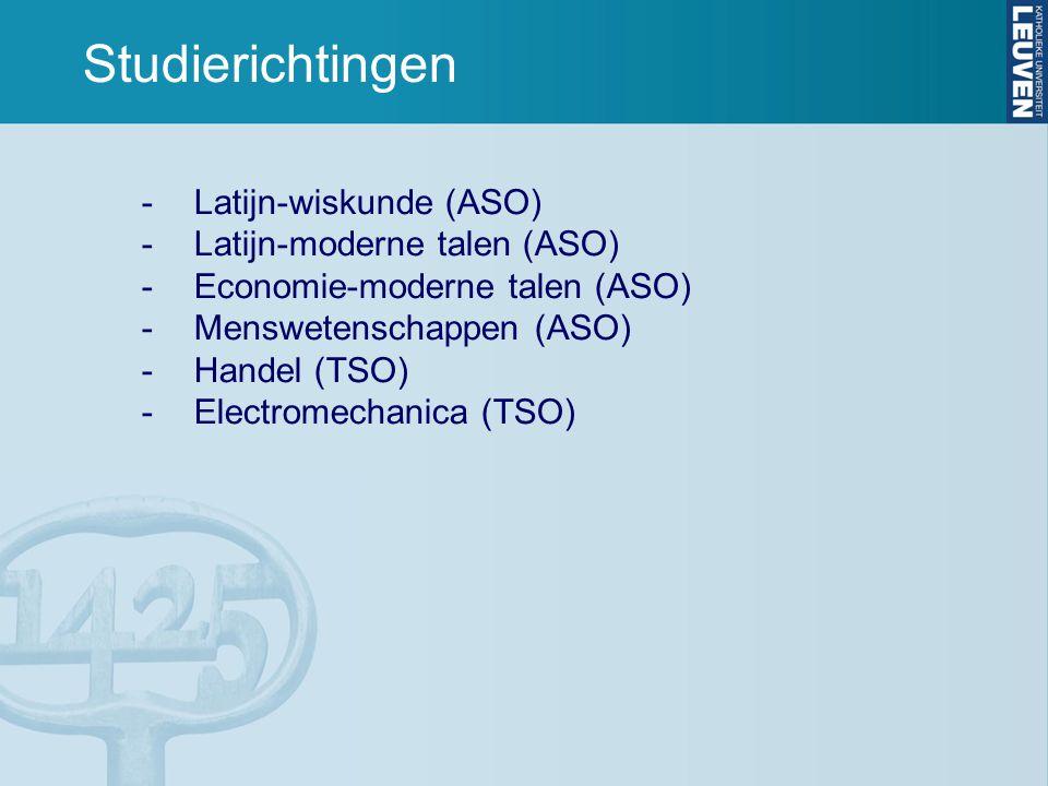 Studierichtingen -Latijn-wiskunde (ASO) -Latijn-moderne talen (ASO) -Economie-moderne talen (ASO) -Menswetenschappen (ASO) -Handel (TSO) -Electromechanica (TSO)