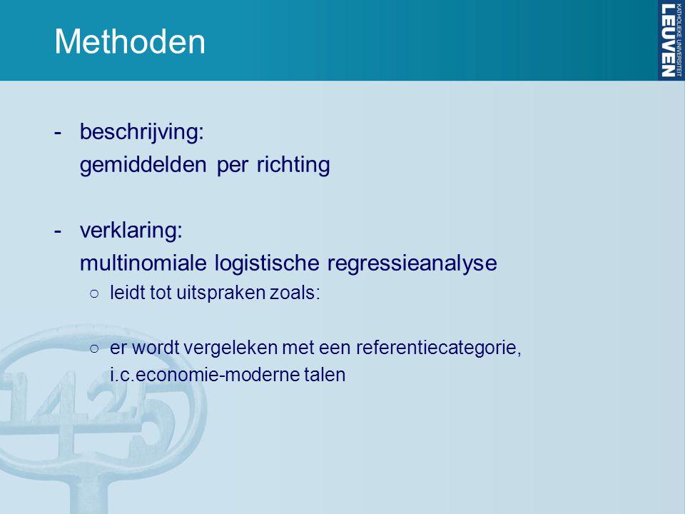 Methoden -beschrijving: gemiddelden per richting -verklaring: multinomiale logistische regressieanalyse ○leidt tot uitspraken zoals: ○er wordt vergeleken met een referentiecategorie, i.c.economie-moderne talen