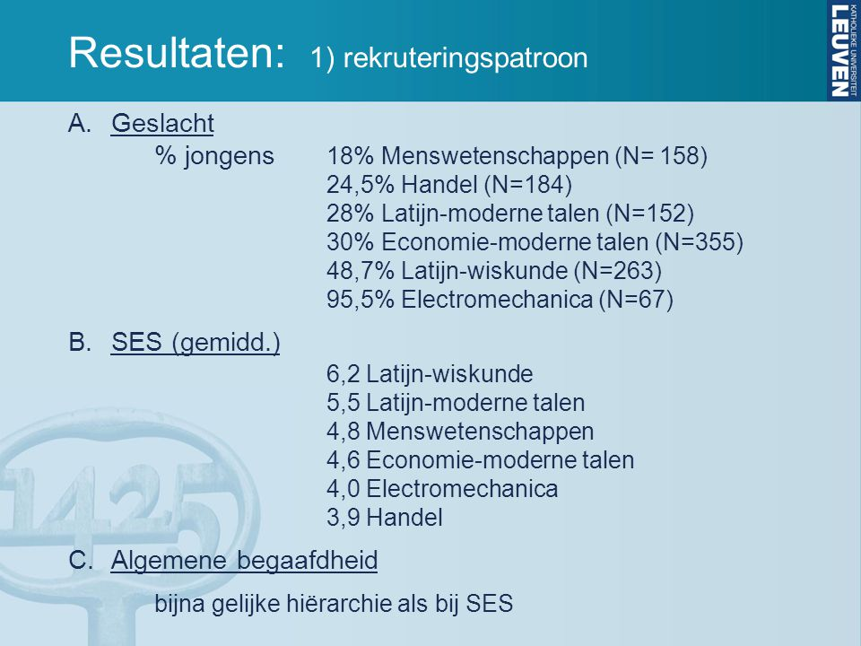 Resultaten: 1) rekruteringspatroon A.Geslacht % jongens 18% Menswetenschappen (N= 158) 24,5% Handel (N=184) 28% Latijn-moderne talen (N=152) 30% Economie-moderne talen (N=355) 48,7% Latijn-wiskunde (N=263) 95,5% Electromechanica (N=67) B.SES (gemidd.) 6,2 Latijn-wiskunde 5,5 Latijn-moderne talen 4,8 Menswetenschappen 4,6 Economie-moderne talen 4,0 Electromechanica 3,9 Handel C.Algemene begaafdheid bijna gelijke hiërarchie als bij SES
