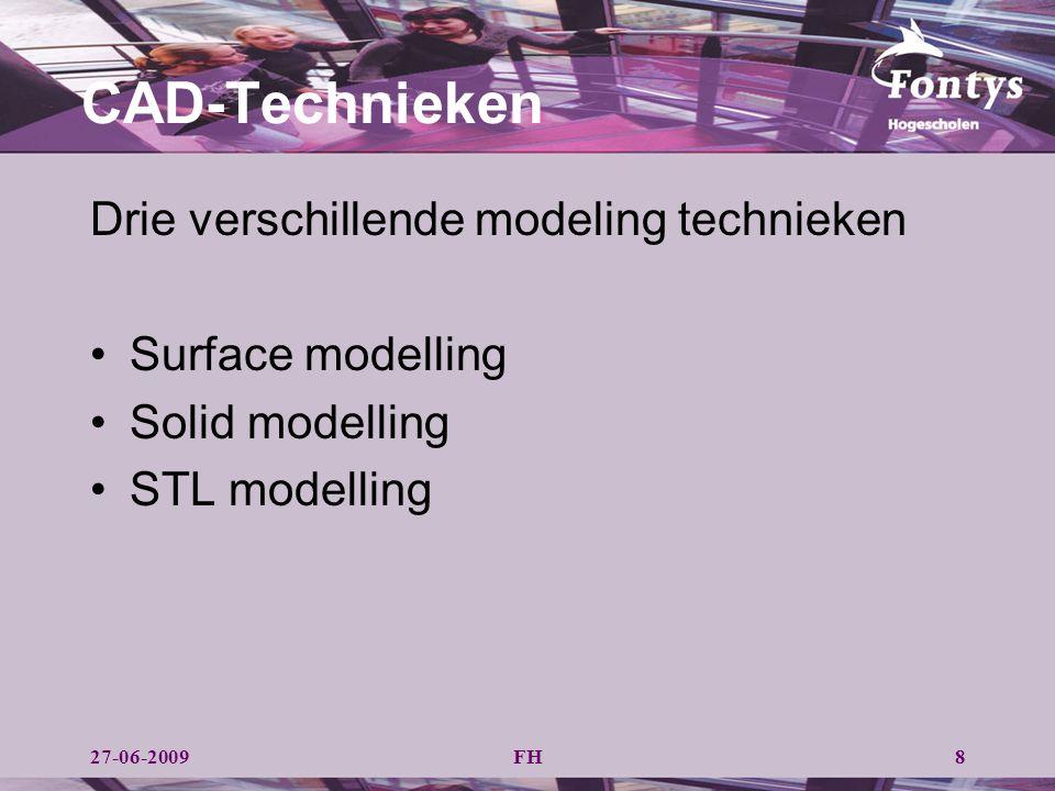 FH CAD-Technieken Drie verschillende modeling technieken Surface modelling Solid modelling STL modelling 827-06-2009