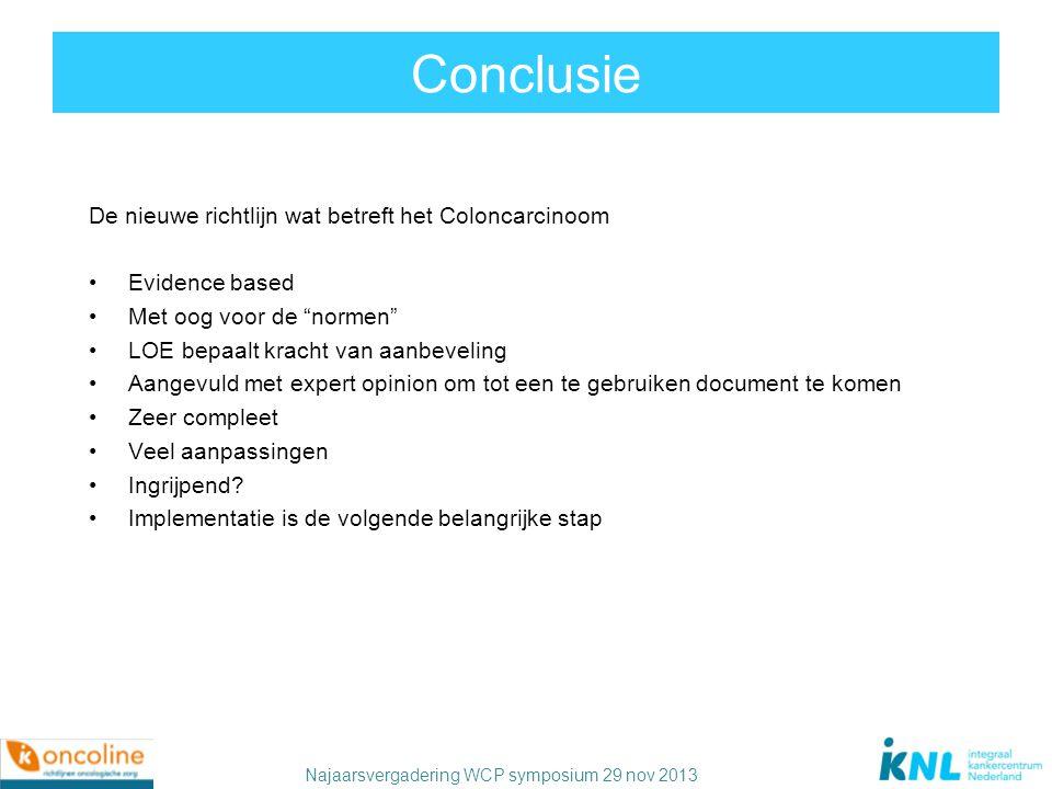 """Najaarsvergadering WCP symposium 29 nov 2013 Conclusie De nieuwe richtlijn wat betreft het Coloncarcinoom Evidence based Met oog voor de """"normen"""" LOE"""