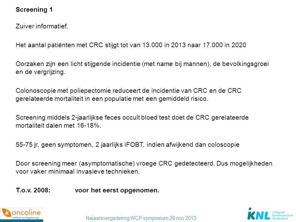 Najaarsvergadering WCP symposium 29 nov 2013 Screening 1 Zuiver informatief. Het aantal patiënten met CRC stijgt tot van 13.000 in 2013 naar 17.000 in
