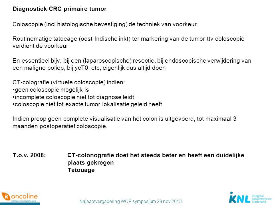 Najaarsvergadering WCP symposium 29 nov 2013 Diagnostiek CRC primaire tumor Coloscopie (incl histologische bevestiging) de techniek van voorkeur. Rout