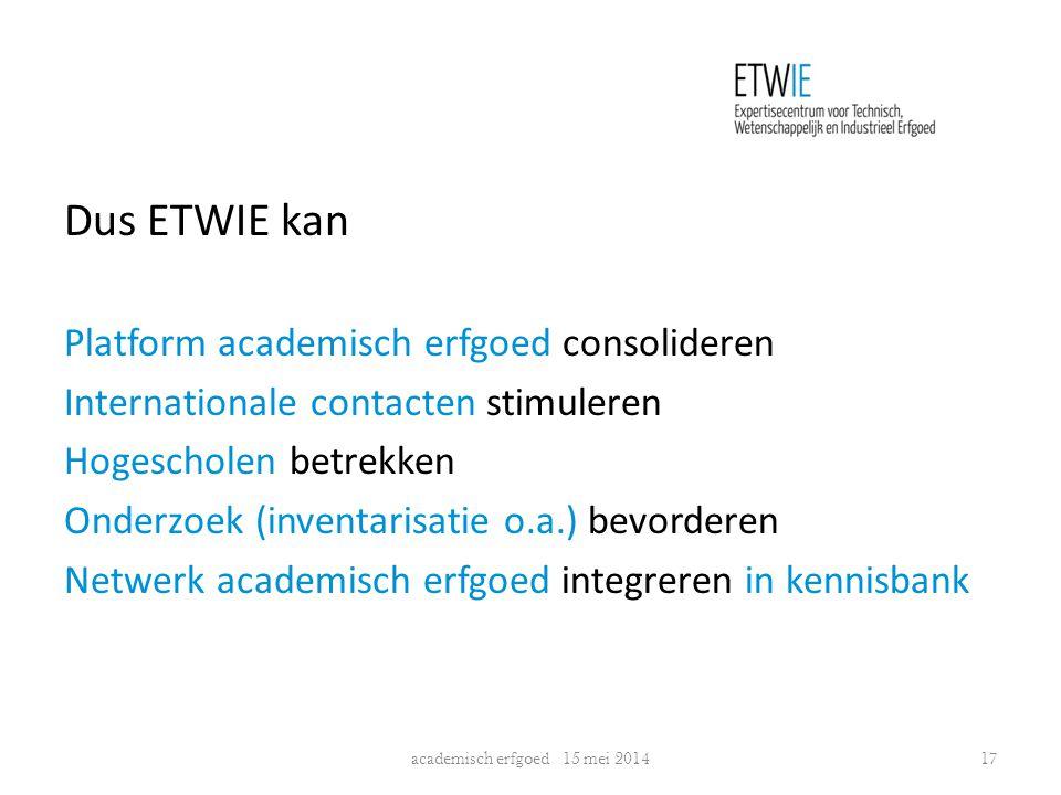 Dus ETWIE kan Platform academisch erfgoed consolideren Internationale contacten stimuleren Hogescholen betrekken Onderzoek (inventarisatie o.a.) bevor