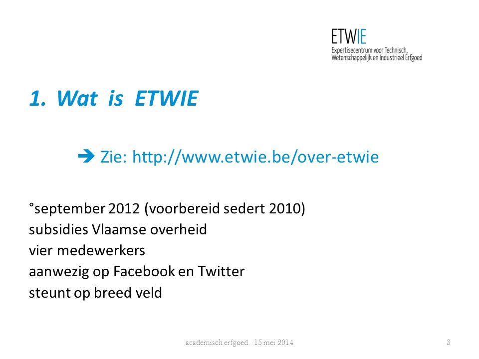 1.Wat is ETWIE  Zie: http://www.etwie.be/over-etwie °september 2012 (voorbereid sedert 2010) subsidies Vlaamse overheid vier medewerkers aanwezig op