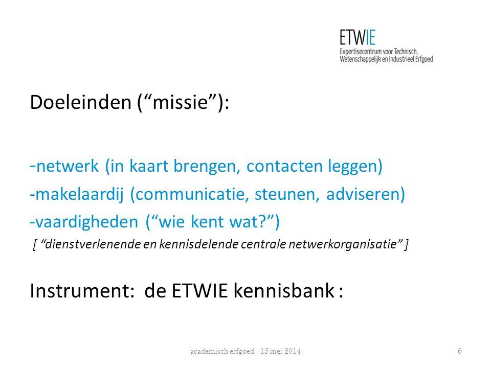 """Doeleinden (""""missie""""): - netwerk (in kaart brengen, contacten leggen) -makelaardij (communicatie, steunen, adviseren) -vaardigheden (""""wie kent wat?"""")"""