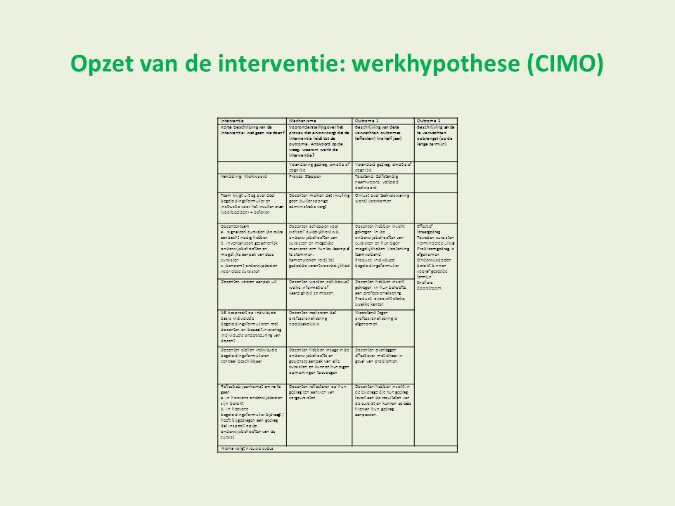 Opzet van de interventie: werkhypothese (CIMO) InterventieMechanismeOutcome 1Outcome 2 Korte beschrijving van de interventie: wat gaan we doen? Vooron