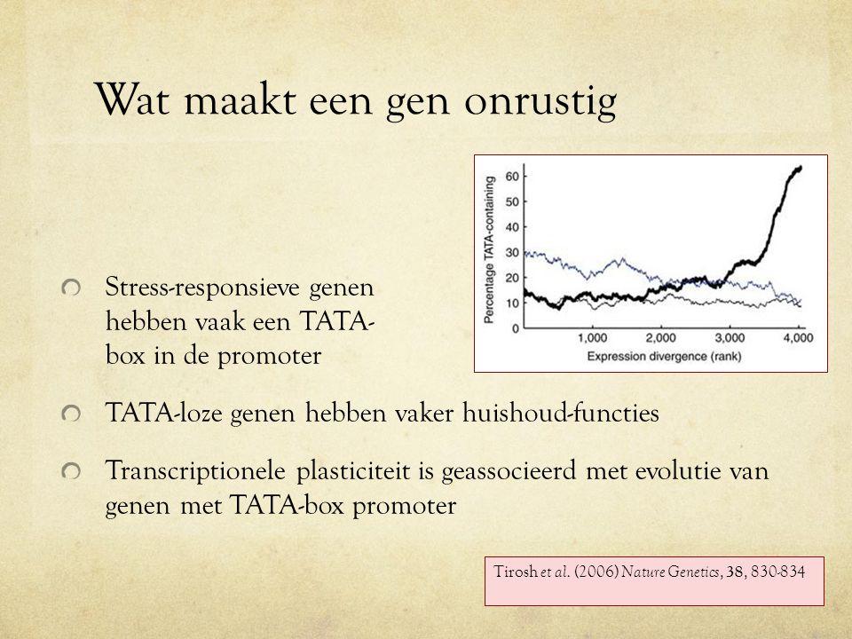 Wat maakt een gen onrustig Stress-responsieve genen hebben vaak een TATA- box in de promoter TATA-loze genen hebben vaker huishoud-functies Transcriptionele plasticiteit is geassocieerd met evolutie van genen met TATA-box promoter Tirosh et al.