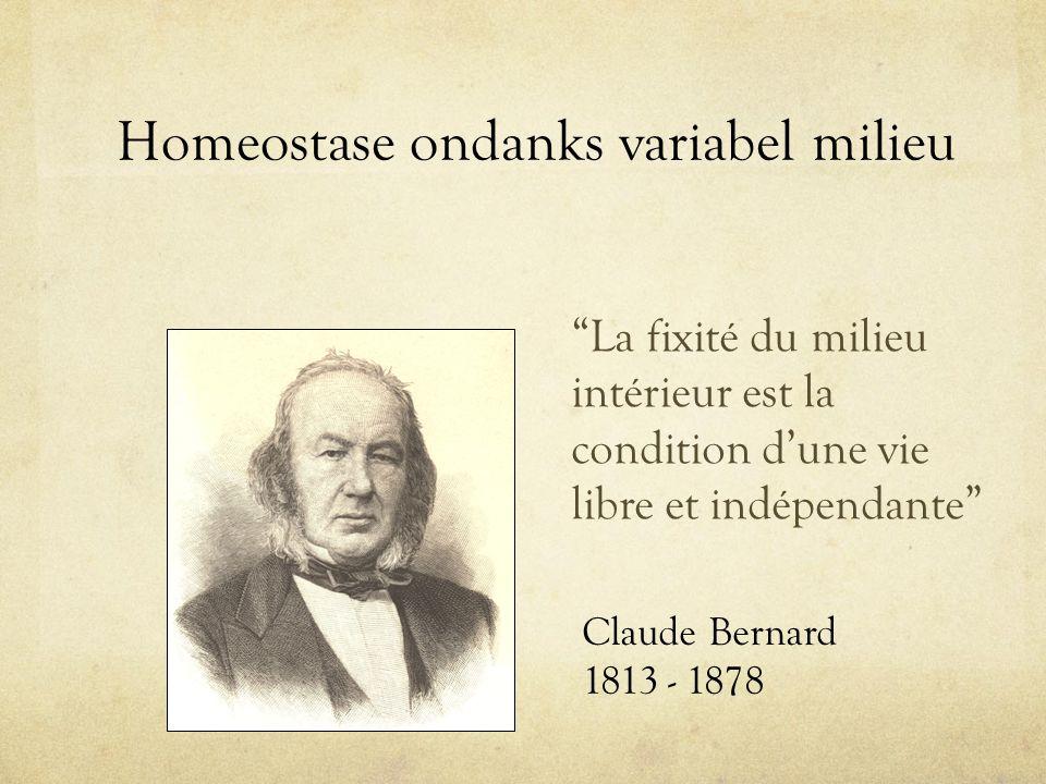 """Homeostase ondanks variabel milieu """"La fixité du milieu intérieur est la condition d'une vie libre et indépendante"""" Claude Bernard 1813 - 1878"""