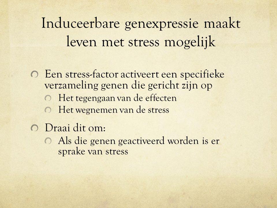 Induceerbare genexpressie maakt leven met stress mogelijk Een stress-factor activeert een specifieke verzameling genen die gericht zijn op Het tegengaan van de effecten Het wegnemen van de stress Draai dit om: Als die genen geactiveerd worden is er sprake van stress