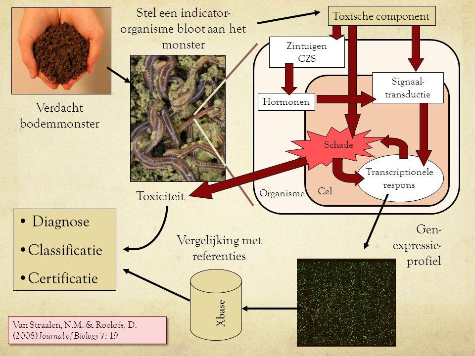Verdacht bodemmonster Vergelijking met referenties Stel een indicator- organisme bloot aan het monster Gen- expressie- profiel Diagnose Classificatie