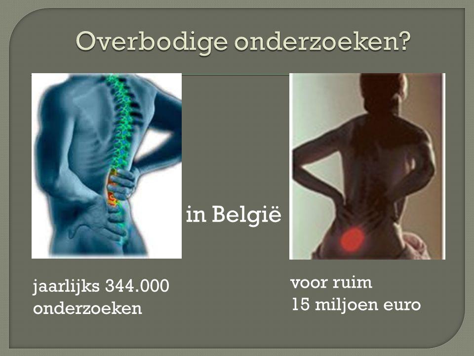 voor ruim 15 miljoen euro jaarlijks 344.000 onderzoeken in België