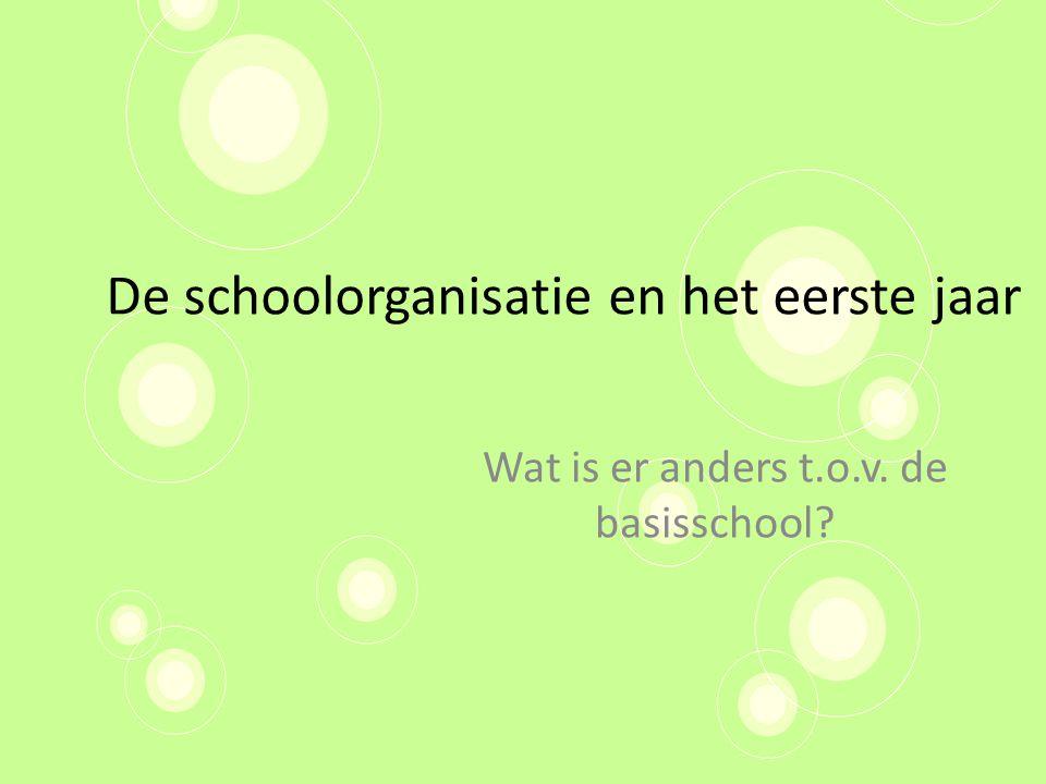 De schoolorganisatie en het eerste jaar Wat is er anders t.o.v. de basisschool?