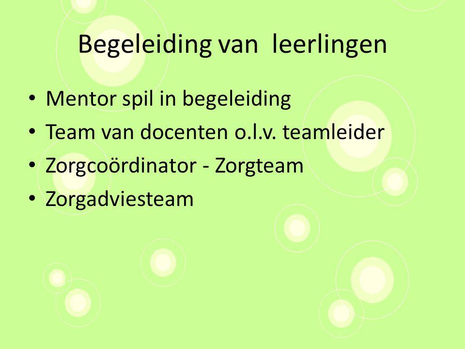 Begeleiding van leerlingen Mentor spil in begeleiding Team van docenten o.l.v.