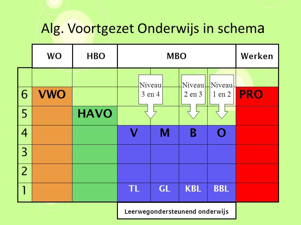 Alg. Voortgezet Onderwijs in schem a 6 VWOPRO 5 HAVO 4 VMBO 3 2 1 TLGLKBLBBL WOHBOMBOWerken Leerwegondersteunend onderwijs Niveau 3 en 4 Niveau 2 en 3