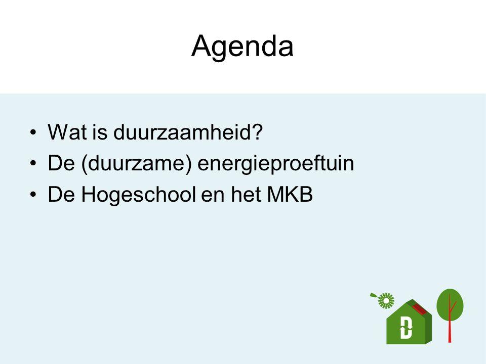 Agenda Wat is duurzaamheid? De (duurzame) energieproeftuin De Hogeschool en het MKB