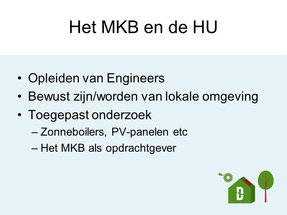 Het MKB en de HU Opleiden van Engineers Bewust zijn/worden van lokale omgeving Toegepast onderzoek –Zonneboilers, PV-panelen etc –Het MKB als opdracht