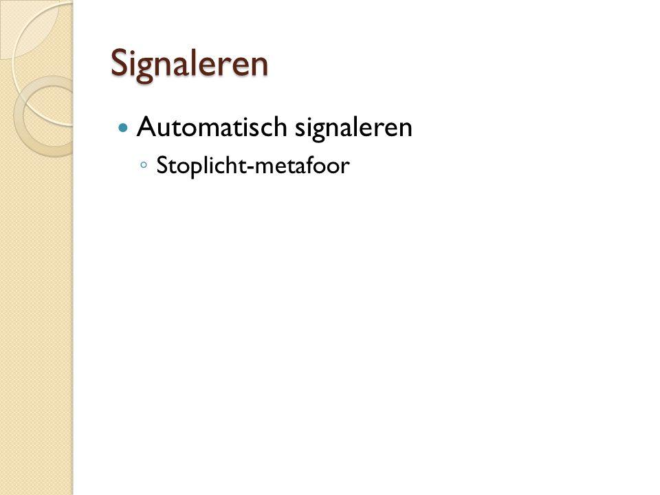 Signaleren Automatisch signaleren ◦ Stoplicht-metafoor