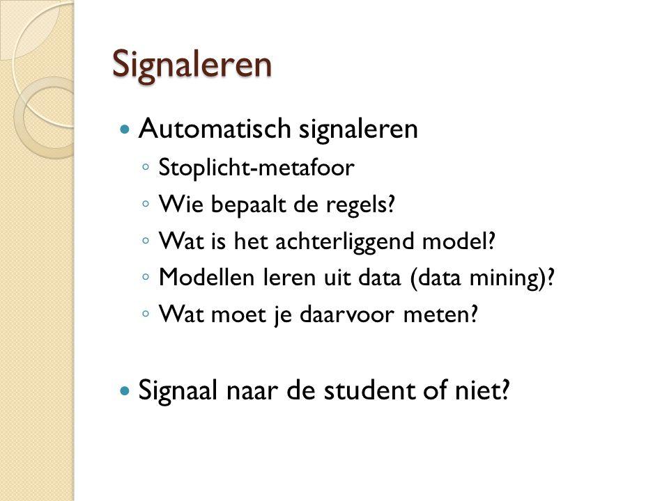 Signaleren Automatisch signaleren ◦ Stoplicht-metafoor ◦ Wie bepaalt de regels? ◦ Wat is het achterliggend model? ◦ Modellen leren uit data (data mini