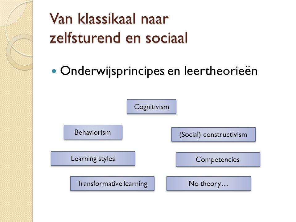 Van klassikaal naar zelfsturend en sociaal Onderwijsprincipes en leertheorieën Behaviorism Cognitivism (Social) constructivism Learning styles Transfo