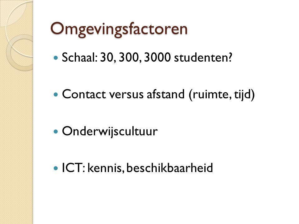 Omgevingsfactoren Schaal: 30, 300, 3000 studenten? Contact versus afstand (ruimte, tijd) Onderwijscultuur ICT: kennis, beschikbaarheid