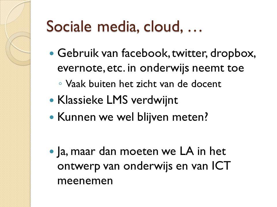 Sociale media, cloud, … Gebruik van facebook, twitter, dropbox, evernote, etc. in onderwijs neemt toe ◦ Vaak buiten het zicht van de docent Klassieke