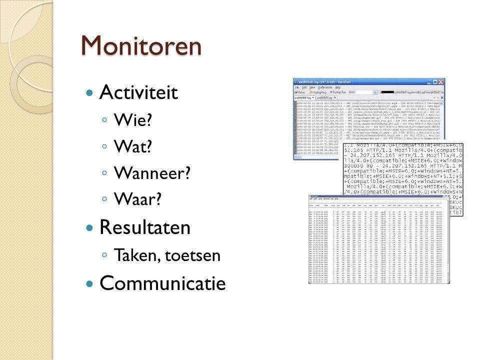 Monitoren Activiteit ◦ Wie? ◦ Wat? ◦ Wanneer? ◦ Waar? Resultaten ◦ Taken, toetsen Communicatie