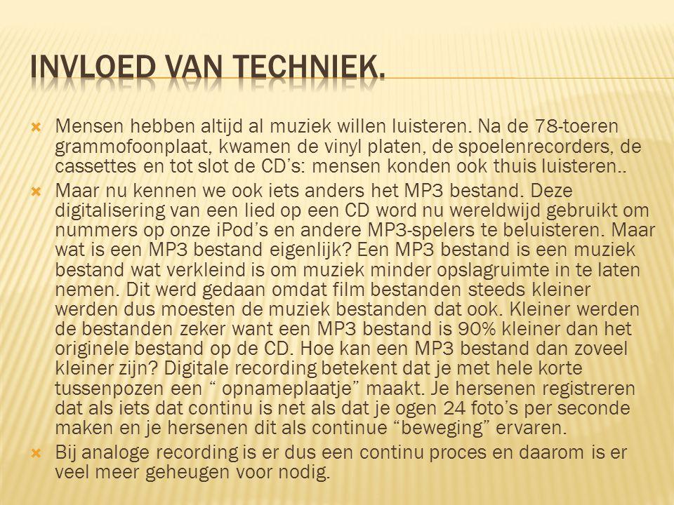  Mensen hebben altijd al muziek willen luisteren. Na de 78-toeren grammofoonplaat, kwamen de vinyl platen, de spoelenrecorders, de cassettes en tot s