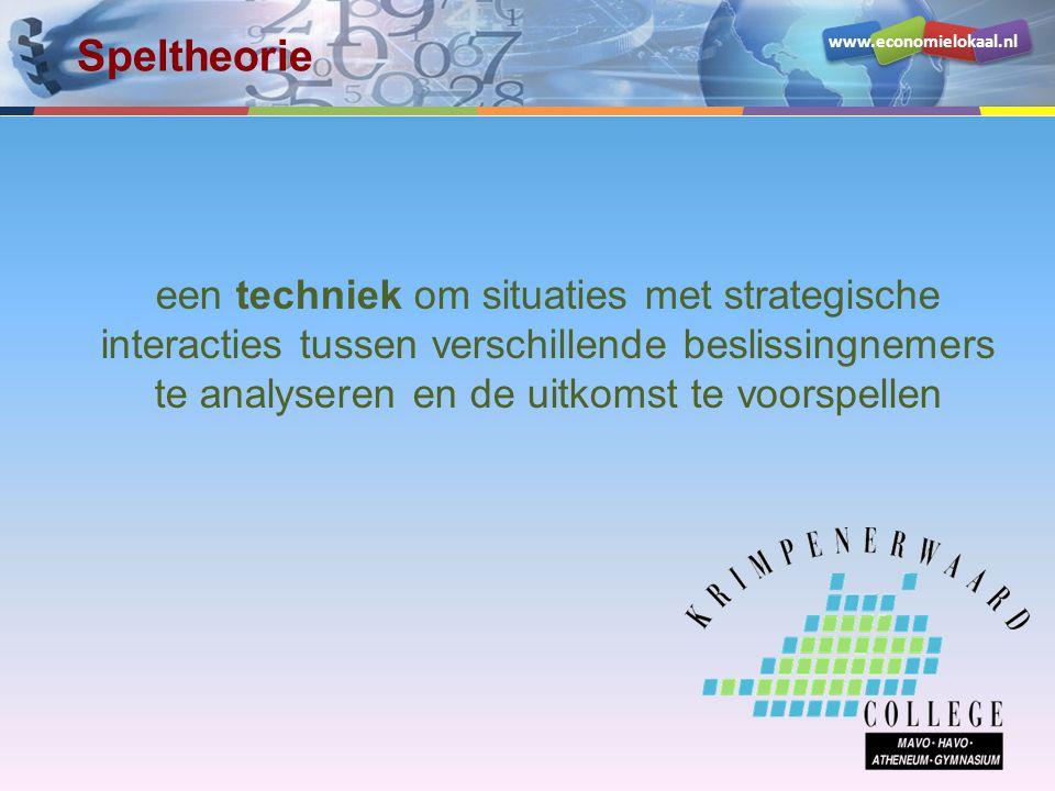 www.economielokaal.nl een techniek om situaties met strategische interacties tussen verschillende beslissingnemers te analyseren en de uitkomst te voo
