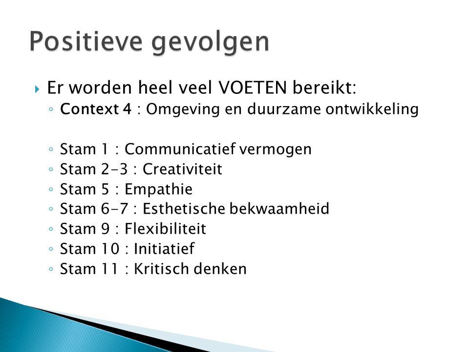  Er worden heel veel VOETEN bereikt: ◦ Context 4 : Omgeving en duurzame ontwikkeling ◦ Stam 1 : Communicatief vermogen ◦ Stam 2-3 : Creativiteit ◦ Stam 5 : Empathie ◦ Stam 6-7 : Esthetische bekwaamheid ◦ Stam 9 : Flexibiliteit ◦ Stam 10 : Initiatief ◦ Stam 11 : Kritisch denken