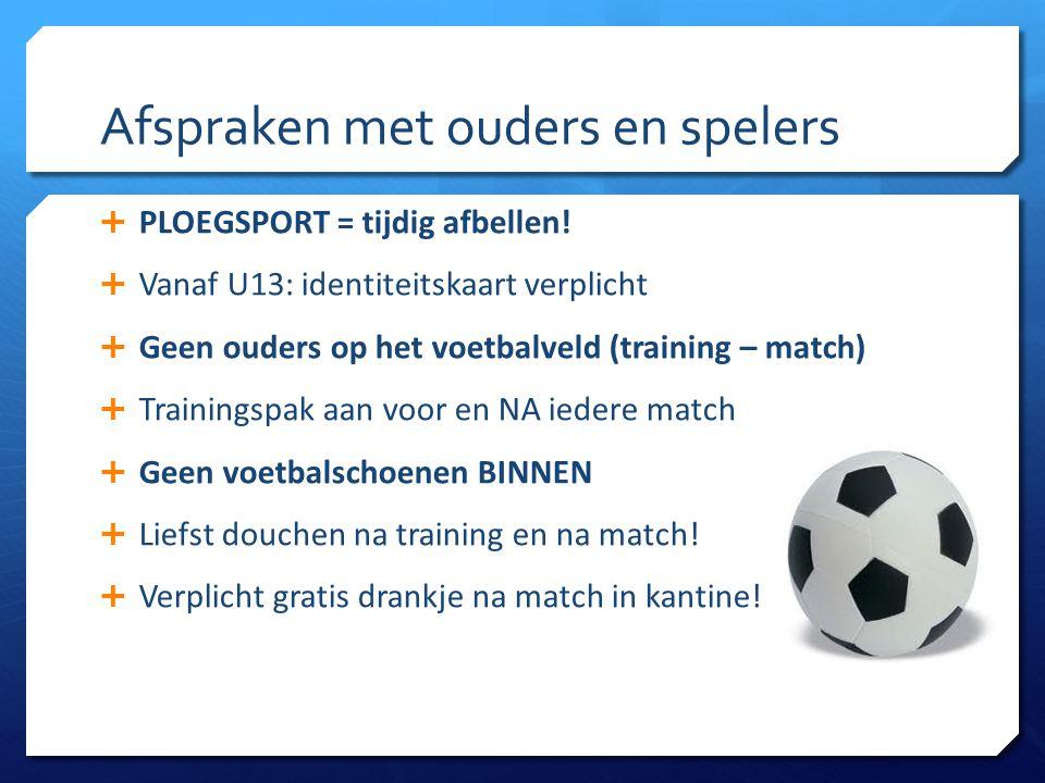 Afspraken met ouders en spelers  PLOEGSPORT = tijdig afbellen!  Vanaf U13: identiteitskaart verplicht  Geen ouders op het voetbalveld (training – m