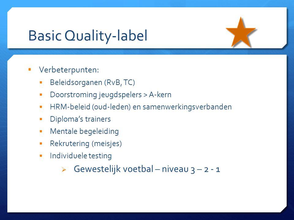 Basic Quality-label  Verbeterpunten:  Beleidsorganen (RvB, TC)  Doorstroming jeugdspelers > A-kern  HRM-beleid (oud-leden) en samenwerkingsverband