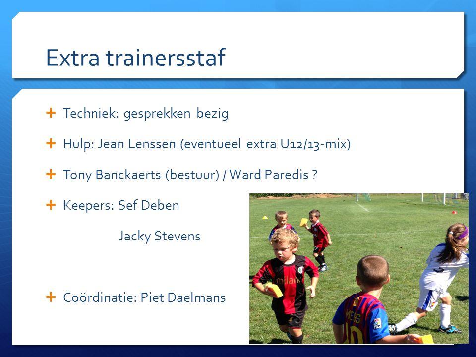 Extra trainersstaf  Techniek: gesprekken bezig  Hulp: Jean Lenssen (eventueel extra U12/13-mix)  Tony Banckaerts (bestuur) / Ward Paredis ?  Keepe