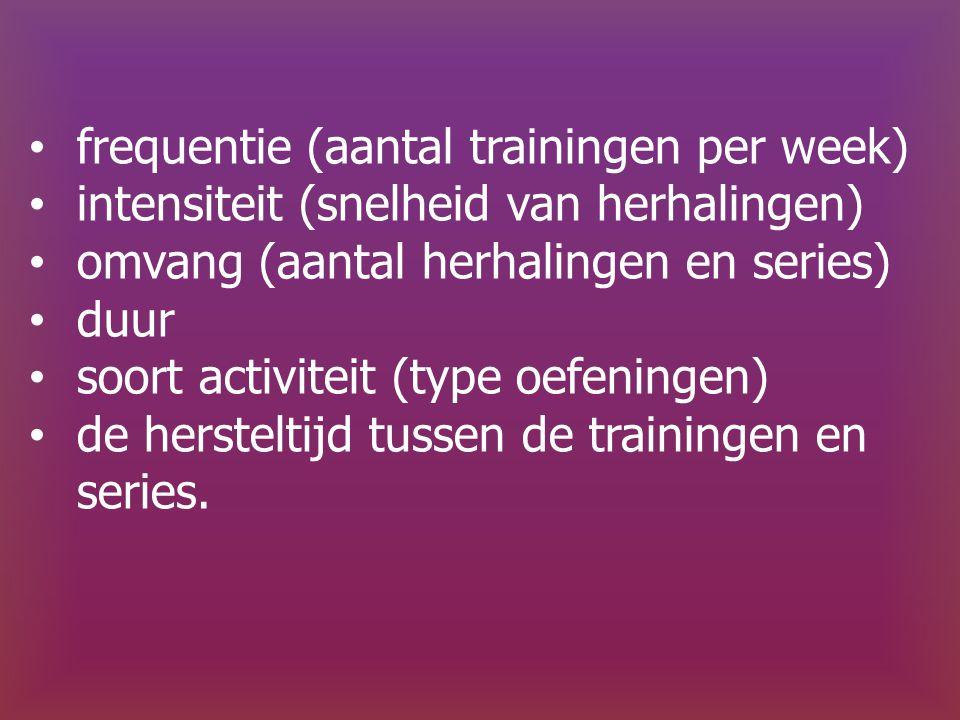 frequentie (aantal trainingen per week) intensiteit (snelheid van herhalingen) omvang (aantal herhalingen en series) duur soort activiteit (type oefeningen) de hersteltijd tussen de trainingen en series.
