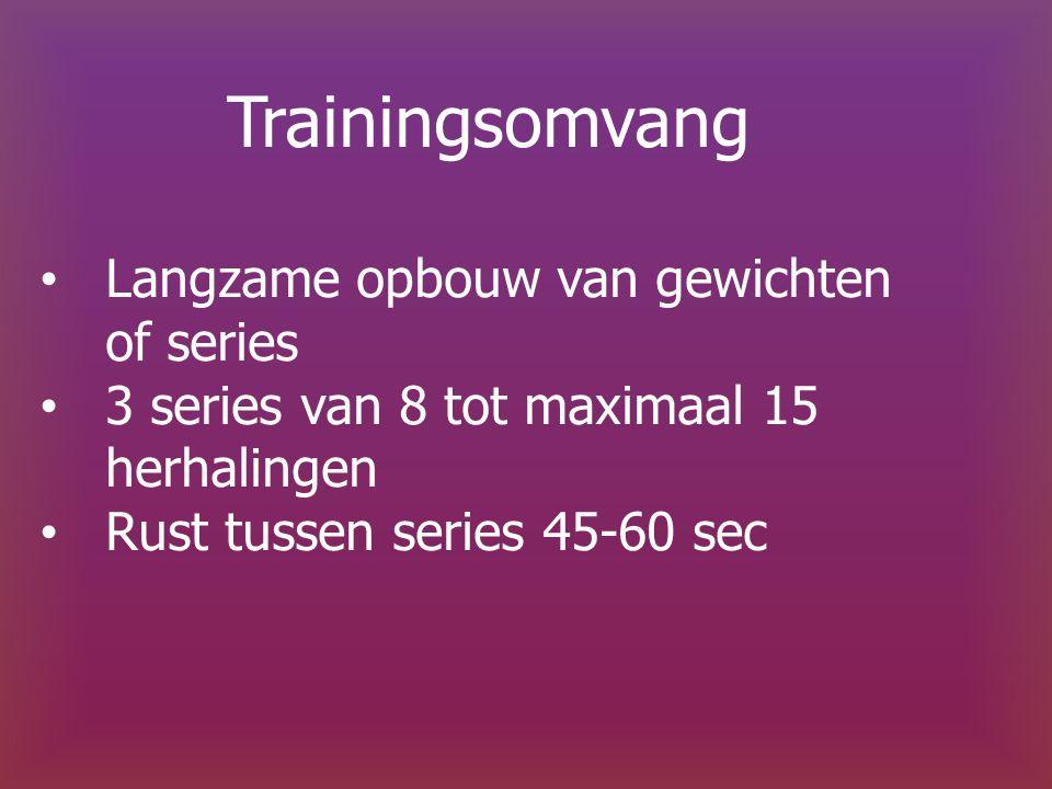 Trainingsomvang Langzame opbouw van gewichten of series 3 series van 8 tot maximaal 15 herhalingen Rust tussen series 45-60 sec
