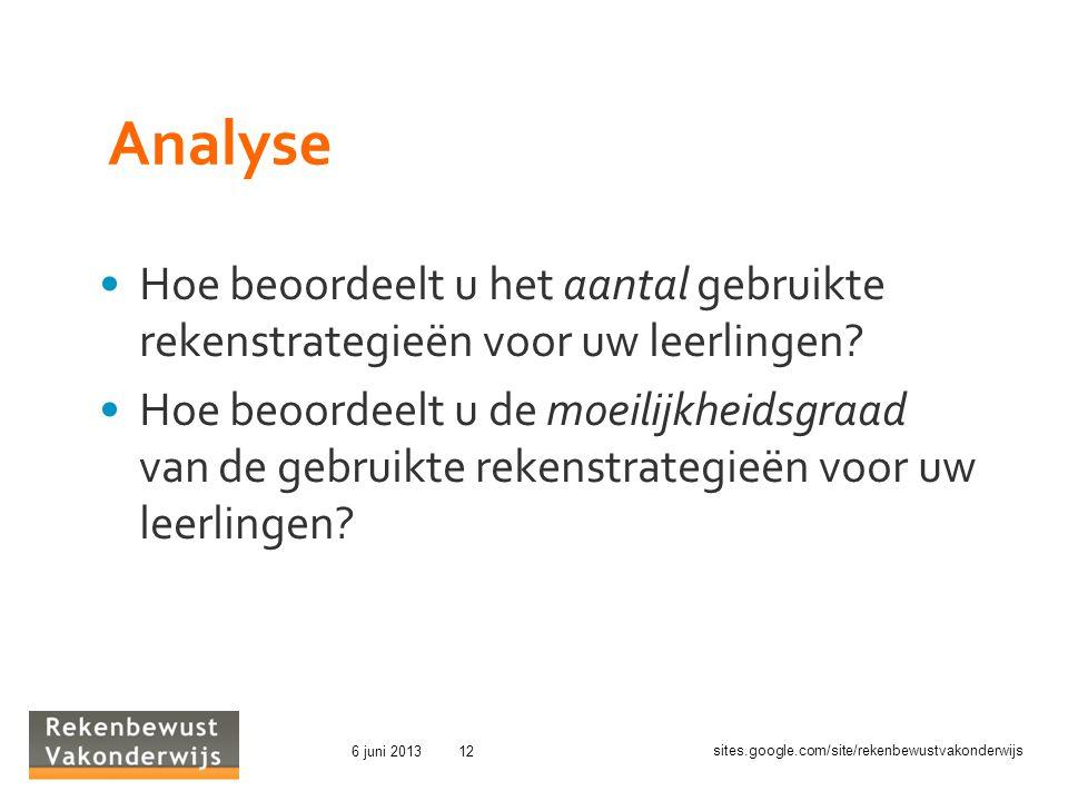 sites.google.com/site/rekenbewustvakonderwijs 6 juni 201312 Analyse Hoe beoordeelt u het aantal gebruikte rekenstrategieën voor uw leerlingen.