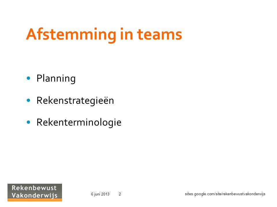 sites.google.com/site/rekenbewustvakonderwijs 6 juni 20132 Afstemming in teams Planning Rekenstrategieën Rekenterminologie