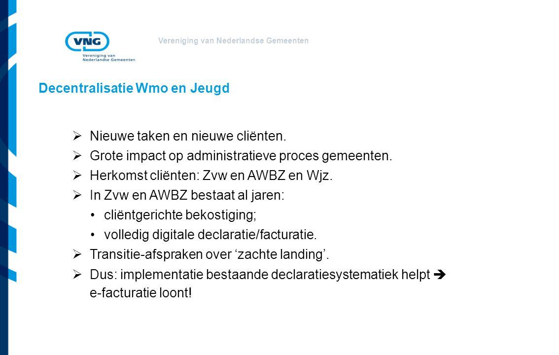 Vereniging van Nederlandse Gemeenten Decentralisatie Wmo en Jeugd  Nieuwe taken en nieuwe cliënten.