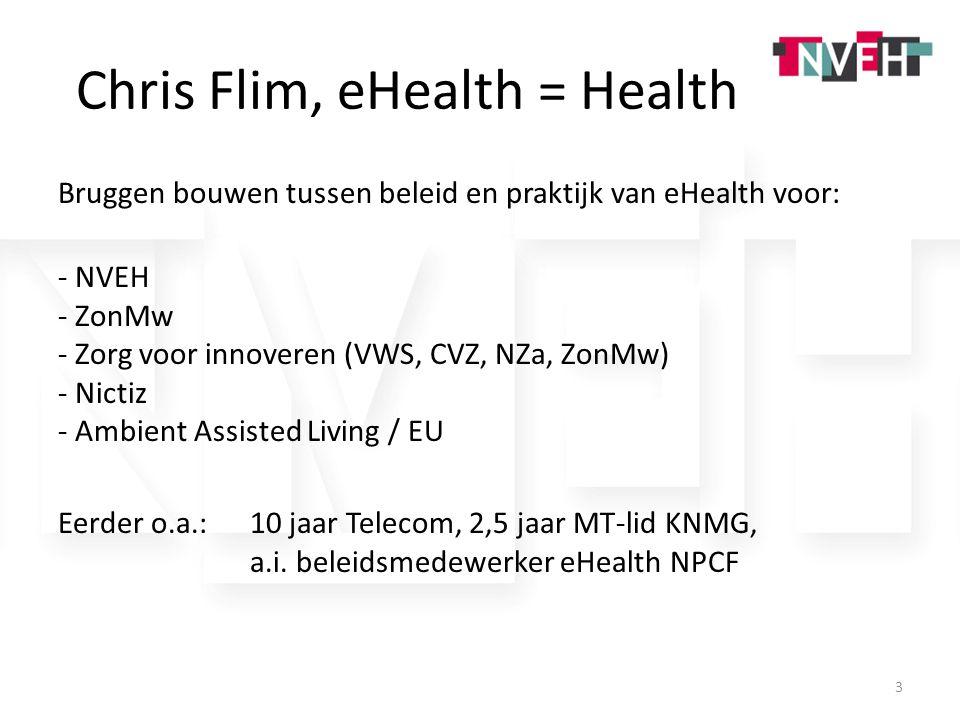 Chris Flim, eHealth = Health Bruggen bouwen tussen beleid en praktijk van eHealth voor: - NVEH - ZonMw - Zorg voor innoveren (VWS, CVZ, NZa, ZonMw) -