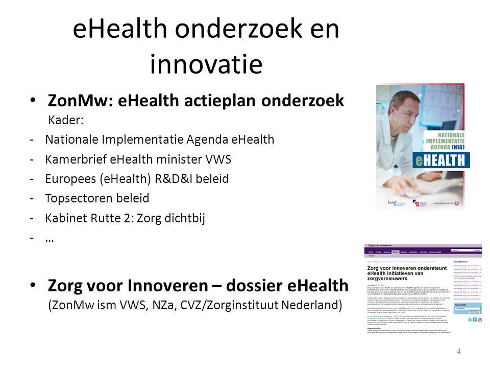 eHealth onderzoek en innovatie ZonMw: eHealth actieplan onderzoek Kader: -Nationale Implementatie Agenda eHealth -Kamerbrief eHealth minister VWS -Europees (eHealth) R&D&I beleid -Topsectoren beleid -Kabinet Rutte 2: Zorg dichtbij -… Zorg voor Innoveren – dossier eHealth (ZonMw ism VWS, NZa, CVZ/Zorginstituut Nederland) 4